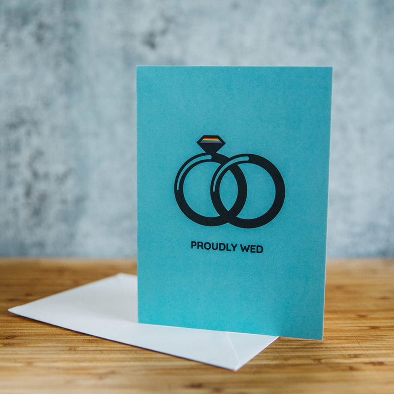 Proudly Wed Wives Band and Diamond LGBT Wedding Greeting Card