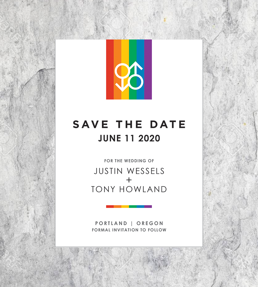 Rainbow Male Icon Save the Dates