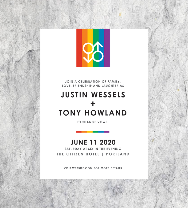 LGBTQ Gay Wedding Invitation