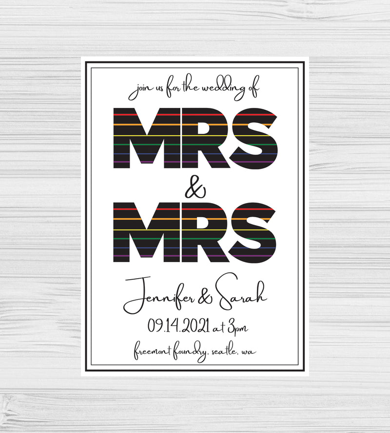 New - Mrs & Mrs Rainbow Invitations