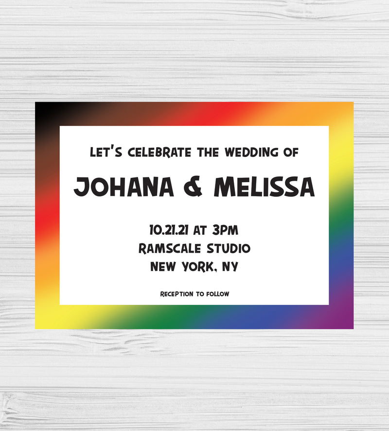 New - Let's Try Again Rainbow Invitations