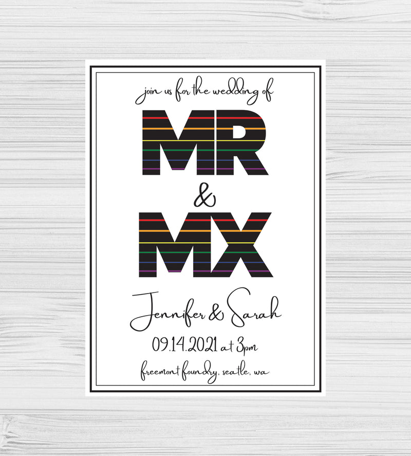 New - Mr & Mx Rainbow Invitations