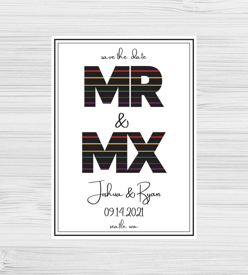 NEW -  Mr & Mx Rainbow Save the Dates