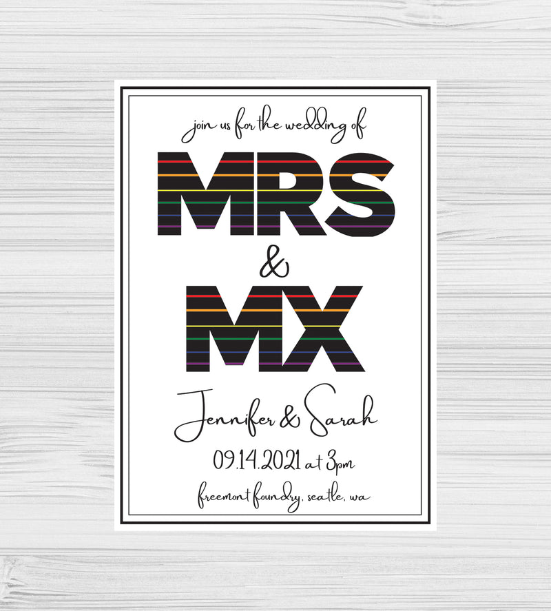 New - Mrs & Mx Rainbow Invitations