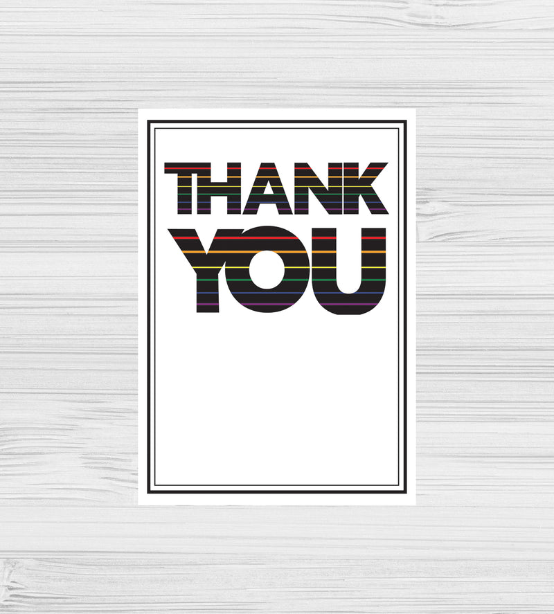NEW -  Rainbow Striped Thank You Cards