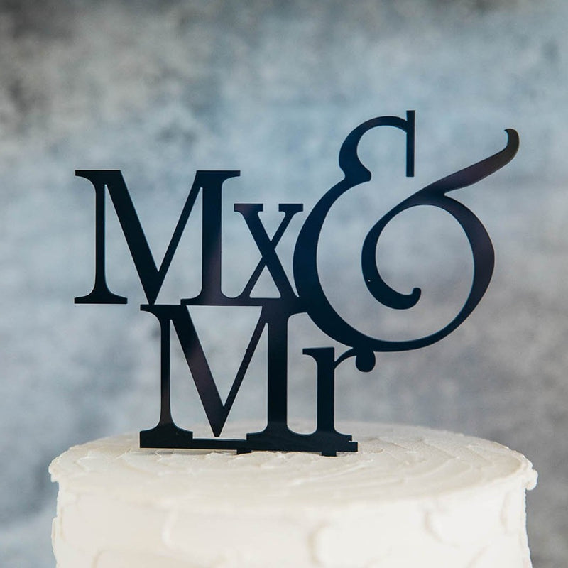 Non-Binary Mx&Mr Black Wedding Cake Topper