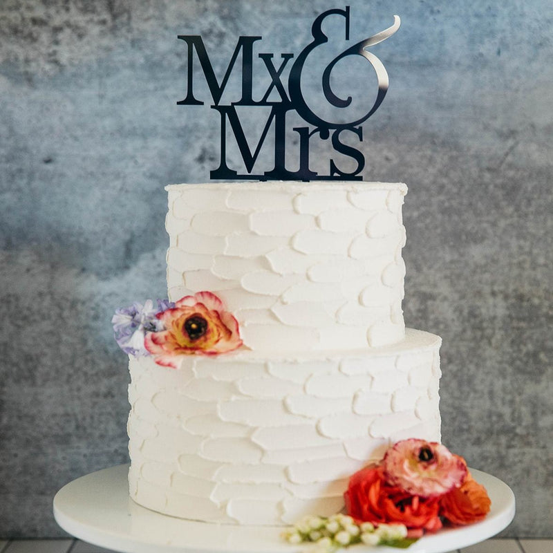 Non-Binary Mx&Mrs Black Wedding Cake Topper