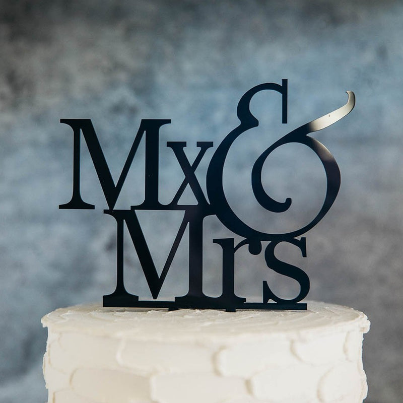 Non-Binary Mx&Mr Black Wedding Cake Topper Close Up