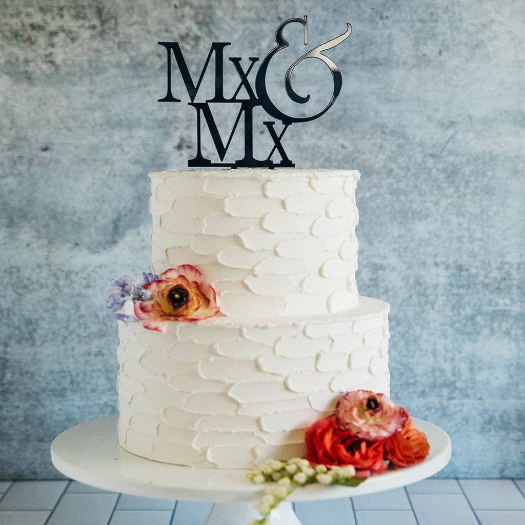 Non-Binary Mx&Mx Black Wedding Cake Topper