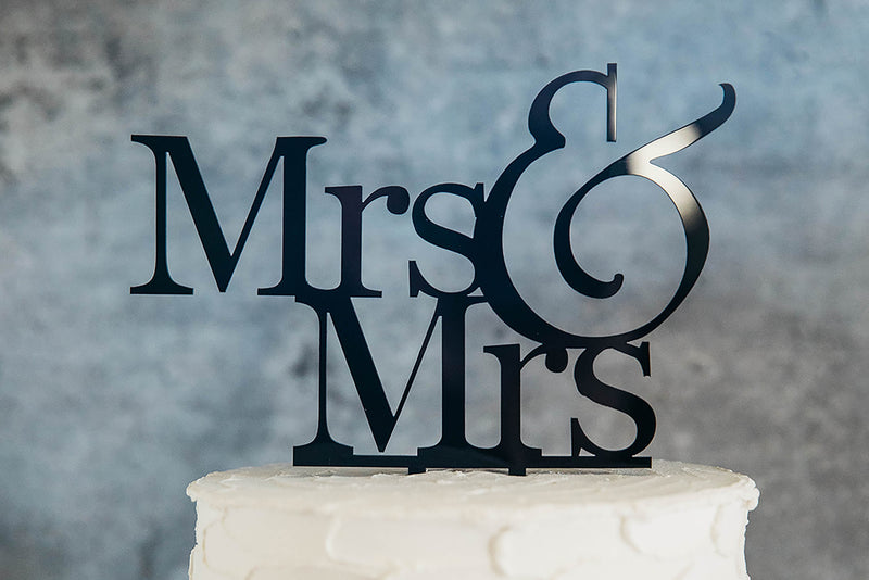 Lesbian Mrs & Mrs Black Wedding Cake Topper On Top of White Cake - Close Up