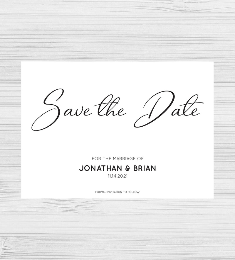 LGBTQ Gay and Lesbian Simply Elegant Wedding Save the Date