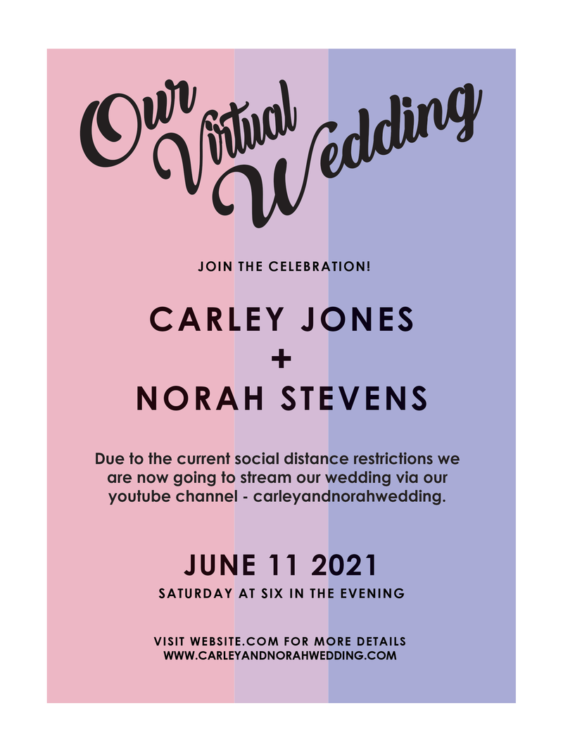 LGBTQ+ Virtual Bi-Sexual Wedding Invitation