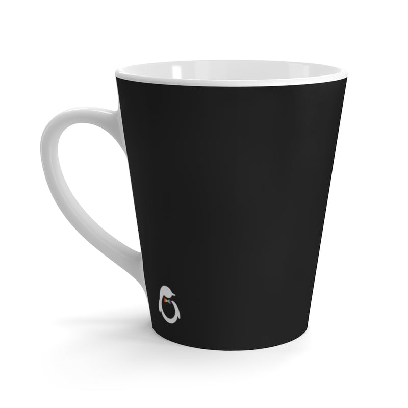 Black Mug - White Interior and Handle - Back View with Penguin Dash of Pride Logo