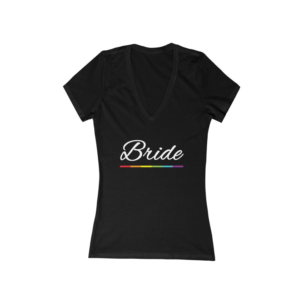 LGBTQ+ Wedding Day Black Fitted V-Neck Tshirt with Bride in White Cursive - Rainbow Underline