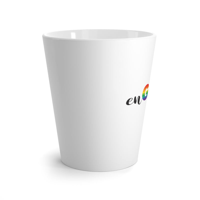 White Mug - enGAYged in Gray and LGBTQ+ Rainbow Block and Cursive Letters - Side View