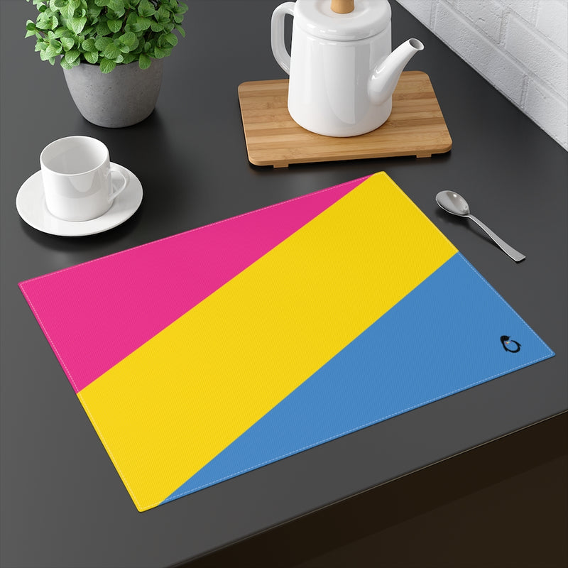 Pan-Sexual Pride Flag Placemat - on table with mug and teapot