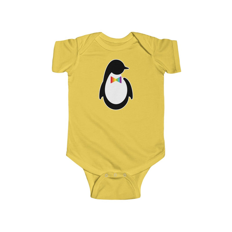 Butter Yellow Infant Bodysuit with Dash of Pride Penguin Logo