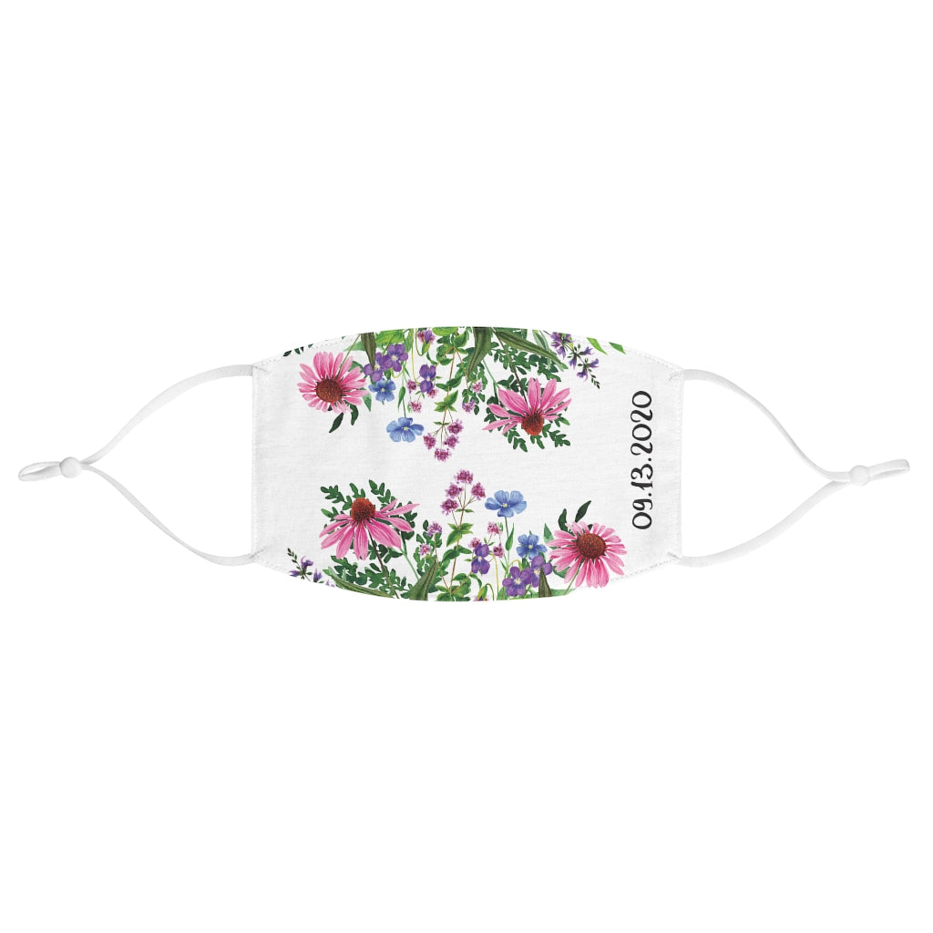 White Fabric Face Mask with Floral Print and Customizable Event Date - Adjustable Ear Loops