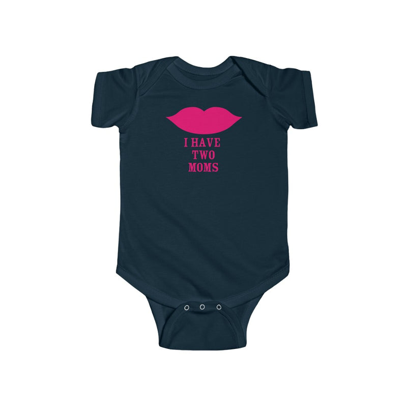 Navy Blue Infant Bodysuit with Cartoon Lips - I Have Two Moms in Pink Lettering