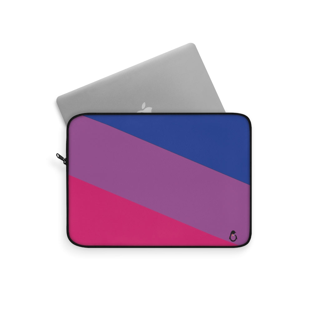 Laptop Partially Inside of Bi-Sexual Pride Laptop Sleeve with Black Zipper