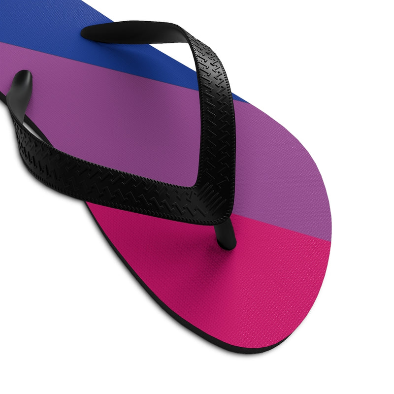 Closeup On Black Straps - Bi-sexual Pride Flip-Flops - Blue Purple Pink Soles