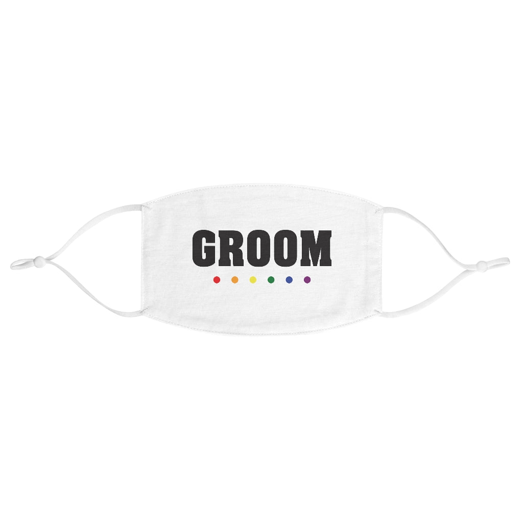 Wedding Day White Fabric Face Mask - GROOM in Black Block Letters - Rainbow Dot Underline