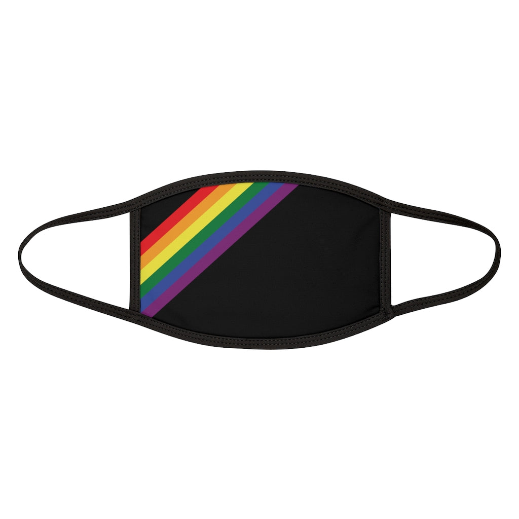 Black Fabric Face Mask with LGBTQ+ Rainbow Pride Stripes