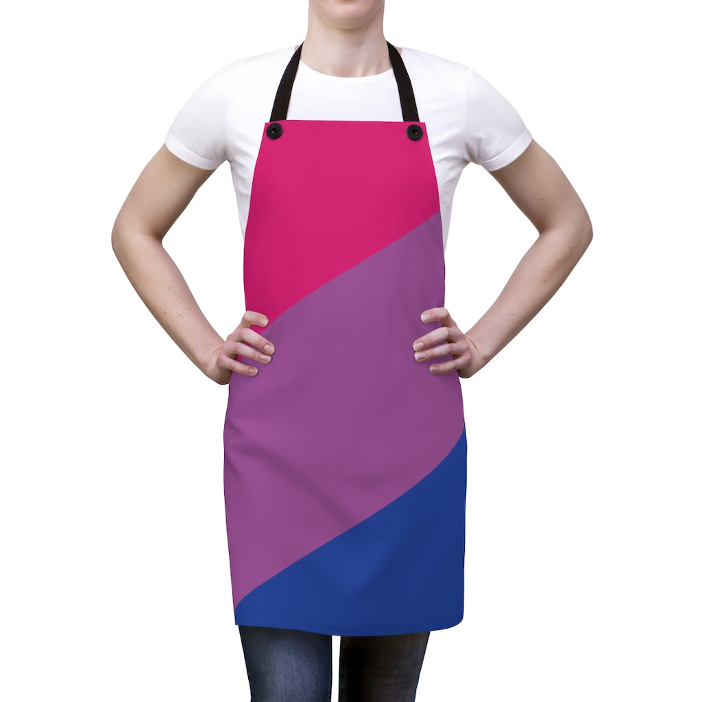 Bi-Sexual Pride Flag Apron - Front View on Female