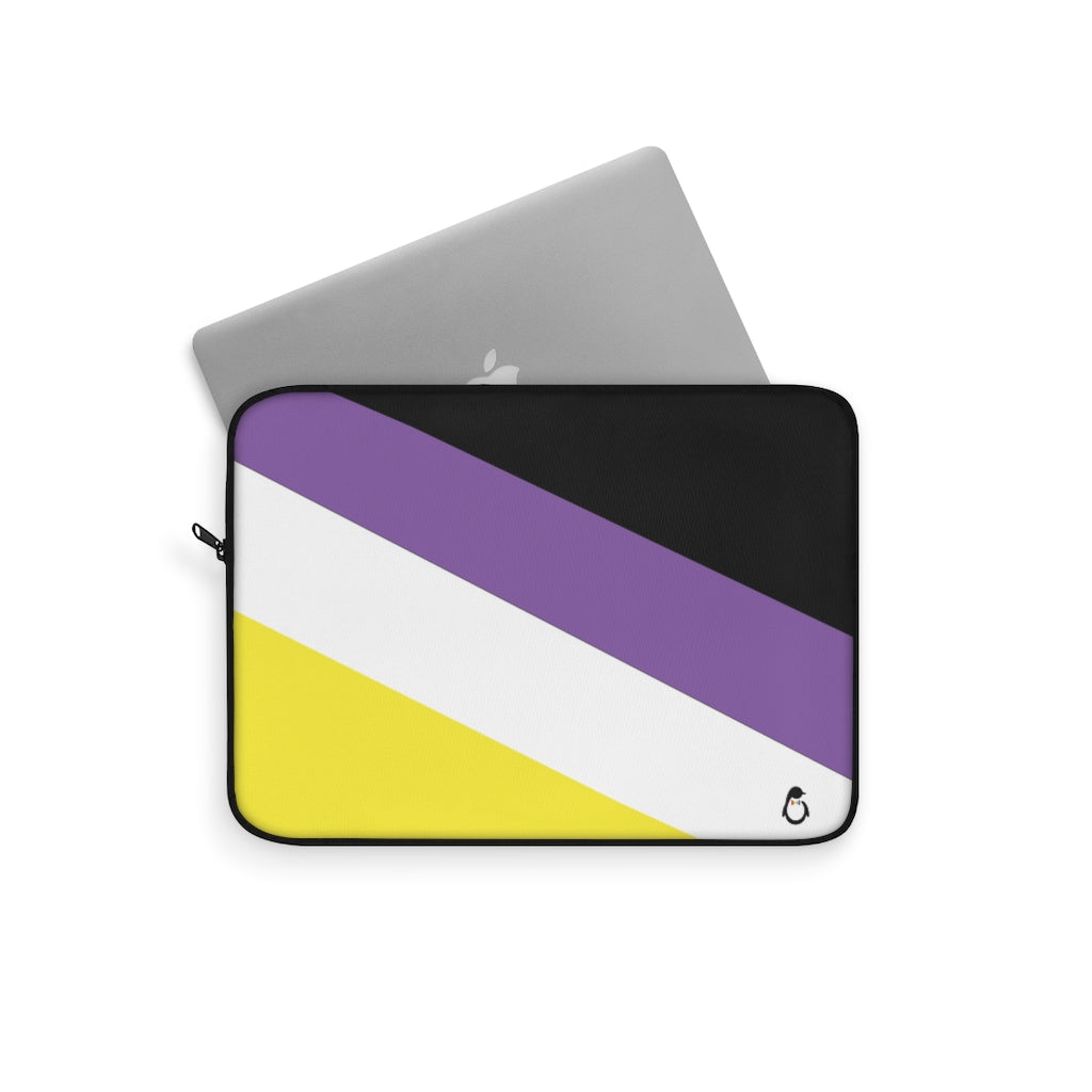 Non-Binary Pride Striped Laptop Sleeve - Computer Partially Inside
