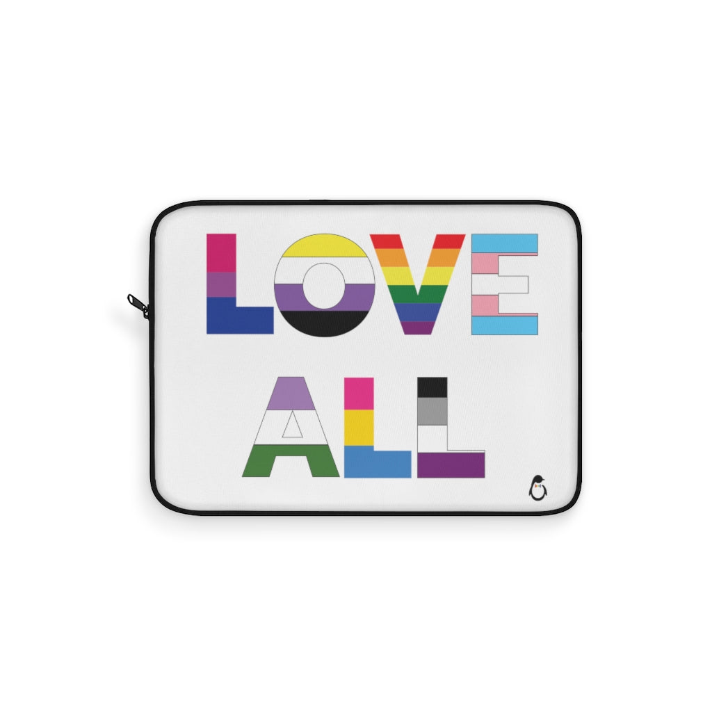 Laptop Sleeve with Love All in LGBTQ+ Rainbow Block Letters