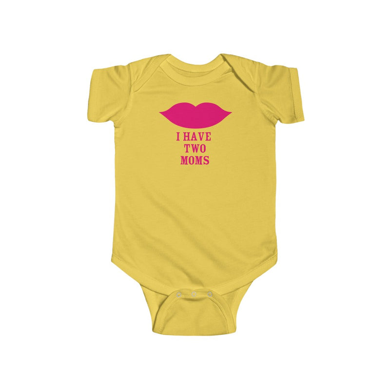 Butter Yellow Infant Bodysuit with Cartoon Lips - I Have Two Moms in Pink Lettering