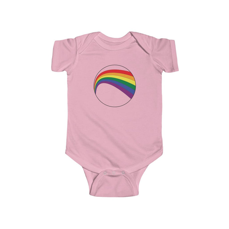 Pink Infant Bodysuit with LGBT Rainbow Arc