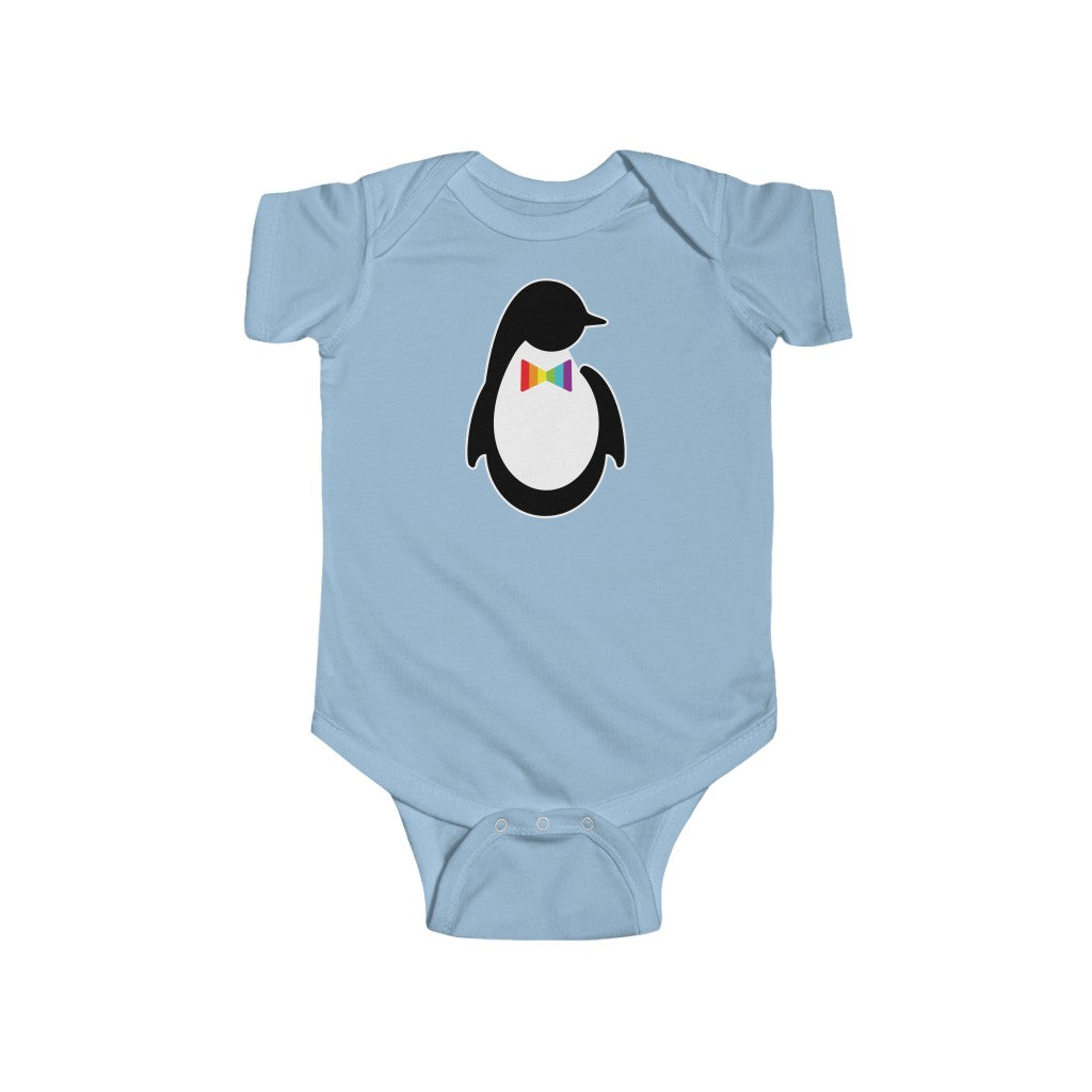 Light Blue Infant Bodysuit with Dash of Pride Penguin Logo