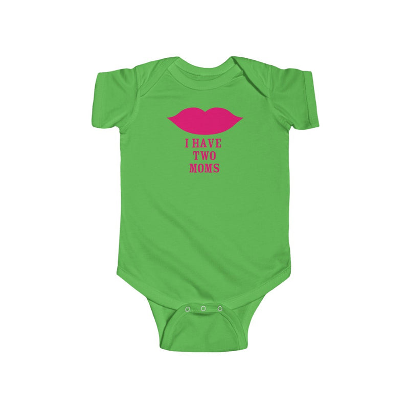 Apple Green Infant Bodysuit with Cartoon Lips - I Have Two Moms in Pink Lettering