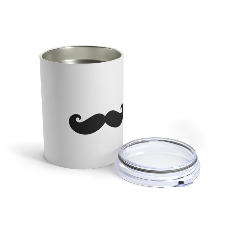 Stainless Steel White Tumbler With a Black Mustache - Front View with Lid Off