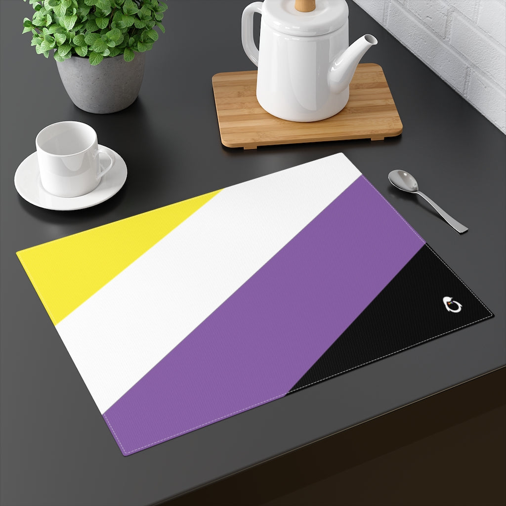 Non-Binary Pride Flag Placemat - on table with mug and teapot
