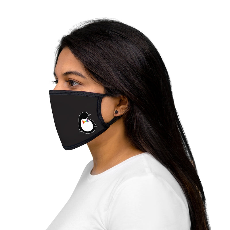 Black Fabric Face Mask with Dash of Pride Penguin Logo - On Woman - Side View