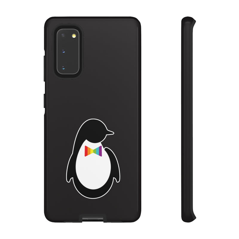 Samsung Galaxy S20 Glossy Black Phone Case with Dash of Pride Penguin Logo - Back and Side View