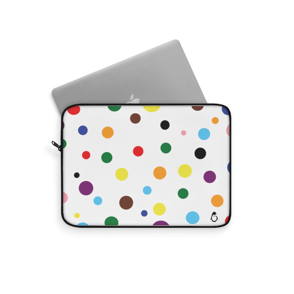 White Laptop Sleeve with LGBT Pride Rainbow Dots and Black Edges - Laptop Peeking Out