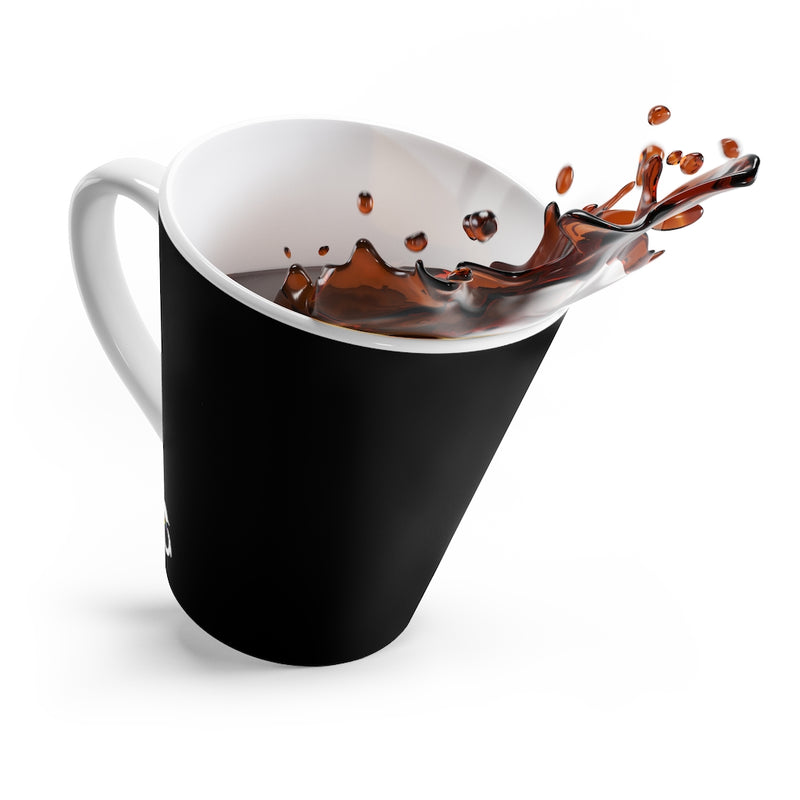 Black Mug - White Interior and Handle - Angled View with Coffee Splashing Out