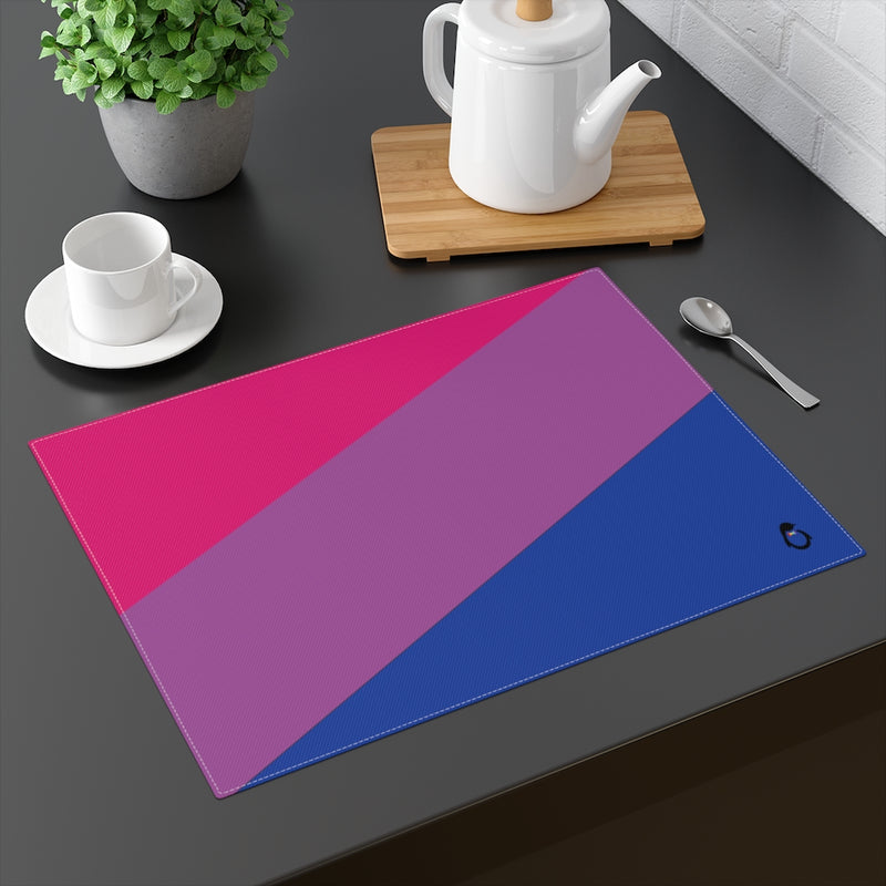 Bi-Sexual Pride Flag Placemat - on table with mug and teapot