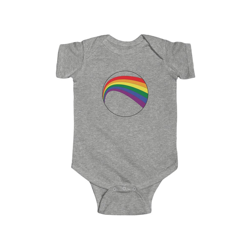 Heather Grey Infant Bodysuit with LGBT Rainbow Arc