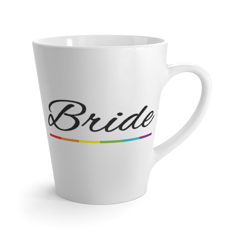 White Mug with Bride in Black Cursive and LGBT Rainbow Pride Underline -  Front View