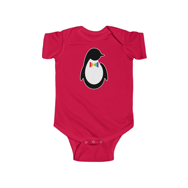 Red Infant Bodysuit with Dash of Pride Penguin Logo