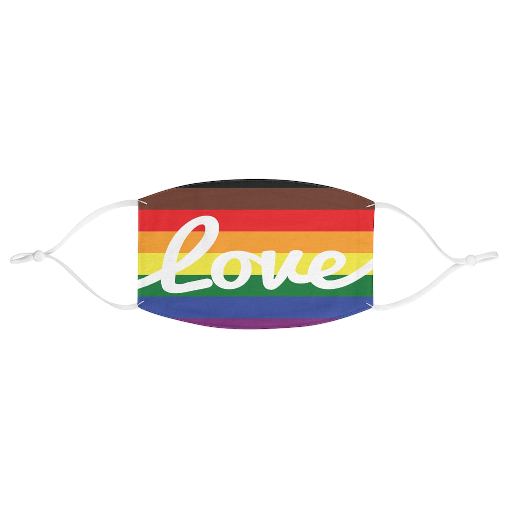 Fabric Face Mask - LGBTQ+ Rainbow Background with Love in White Cursive - Adjustable Ear Loops