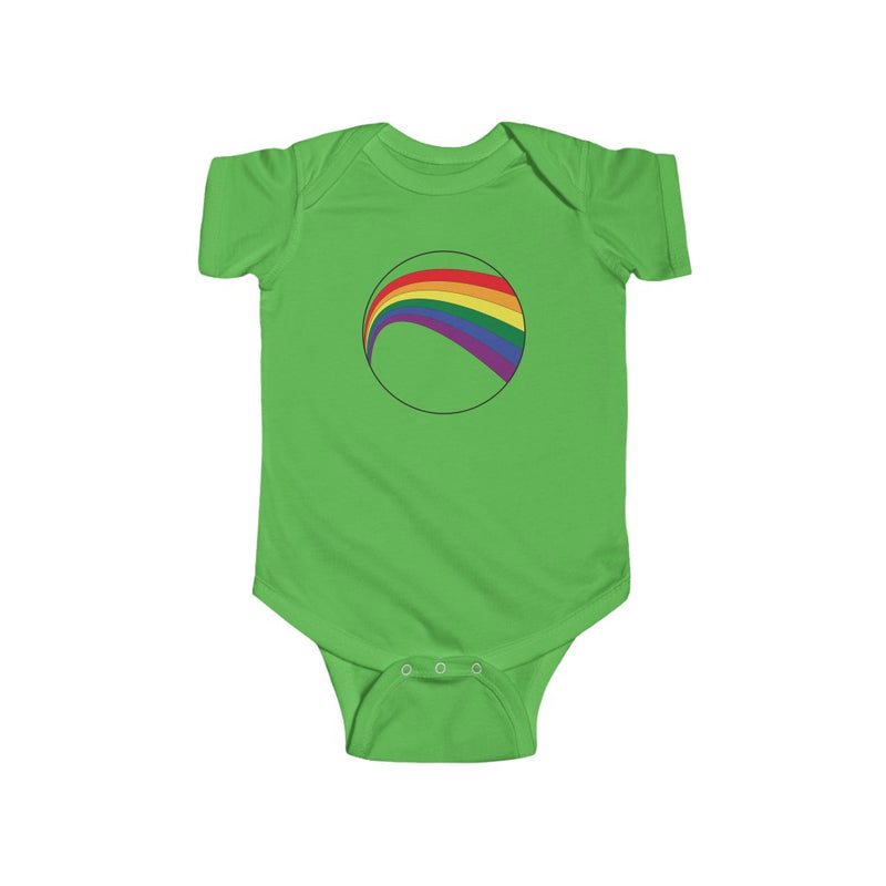 Apple Green Infant Bodysuit with LGBT Rainbow Arc
