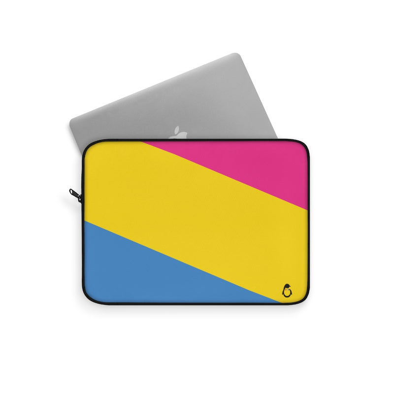 Pan-Sexual Pride Striped Laptop Sleeve - Laptop Peeking out of Sleeve