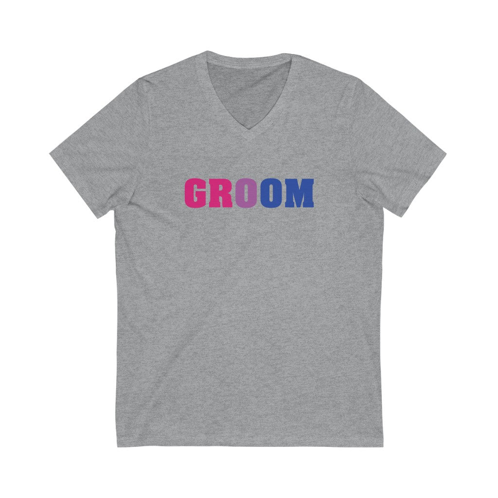 Wedding Day Athletic Heather Grey V-Neck Tshirt with GROOM in Bi-sexual Pride Colored Block Letters