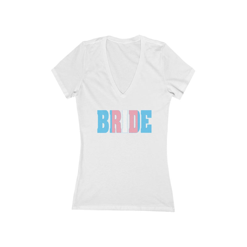 White Fitted V-Neck Tshirt with BRIDE in Transgender Pride Colored Block Letters