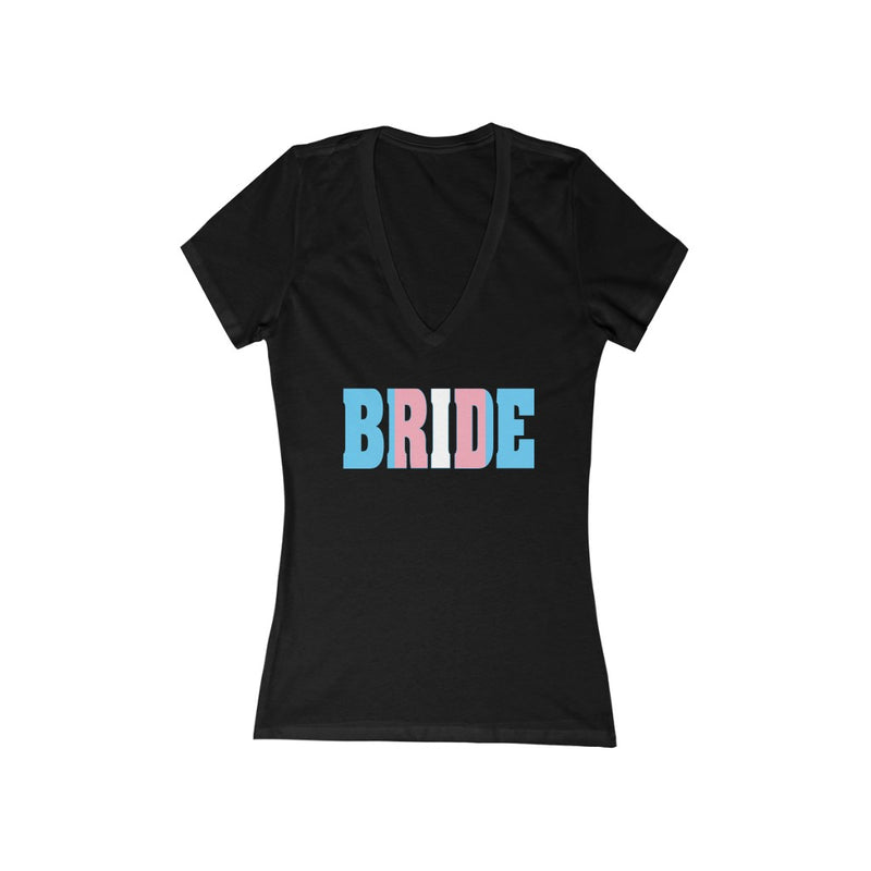 Black Fitted V-Neck Tshirt with BRIDE in Transgender Pride Colored Block Letters